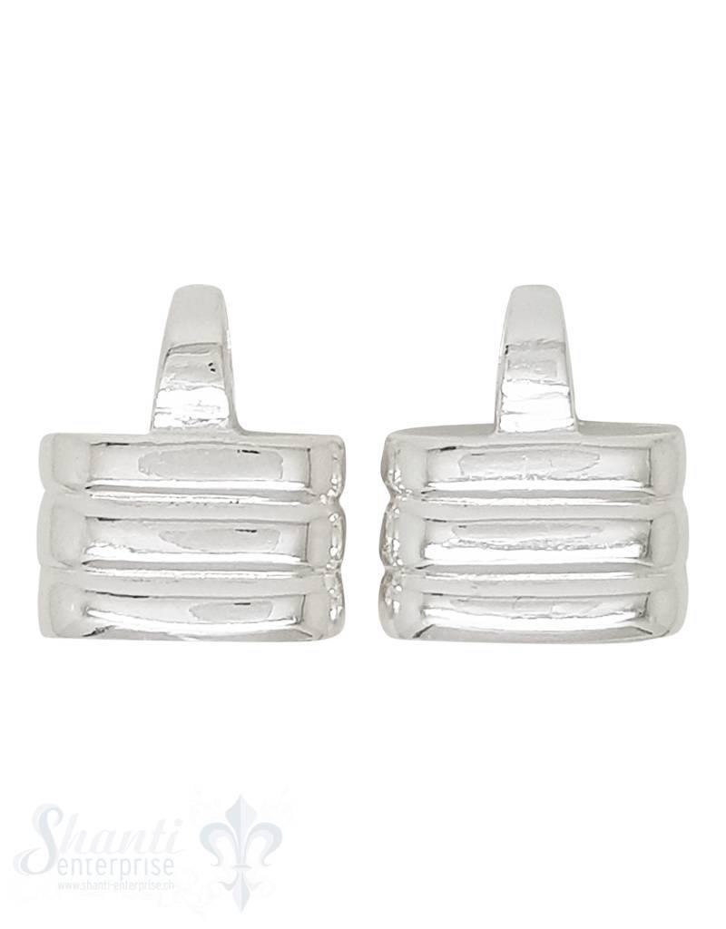 Lederkappe Silber 12x18 mm flach gerillt polliert ID 15,6x114,6 mm mit fixer Öse vertikal ID7,5x4,5 1 Paar= 2 Stk.