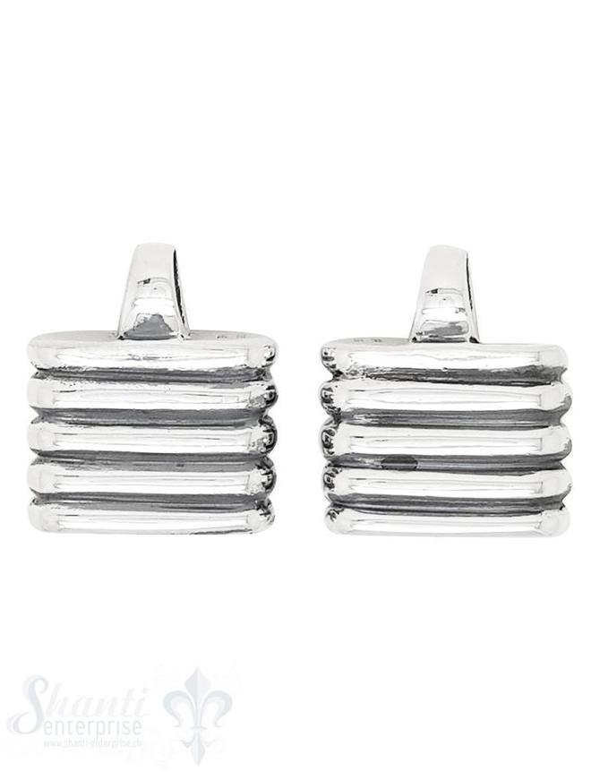 Lederkappe Silber 17x13 flach gerillt polliert ID 3,5x13,5 mit fixer Öse vertikal ID4,5 mm 1 Paar= 2 Stk.