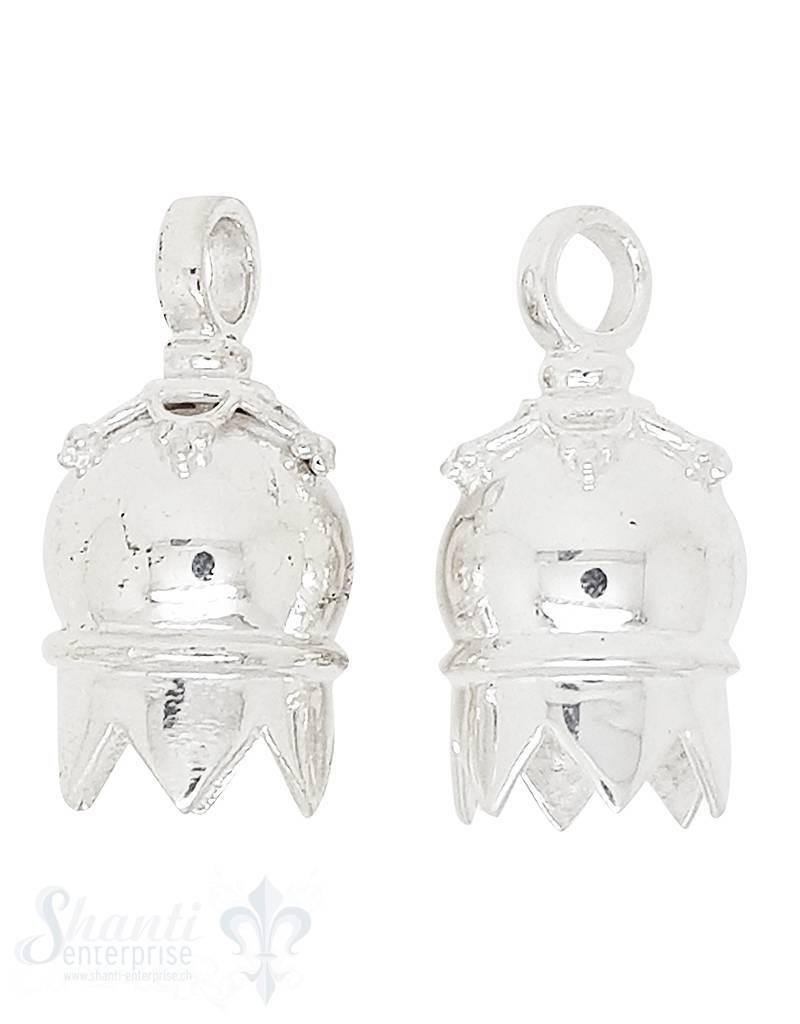 Lederkappe Silber rund 13x17 mm verziert ID: 10 mm fixe Oese 1Pack = 2 Stk.