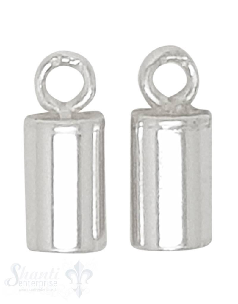 Lederkappe Silber rund 7,5 x 4,5 mm ID 3 mm fixe Oese ID 1.3 mm poliert 1Pack = 10 Stk. ca. 6 gr.