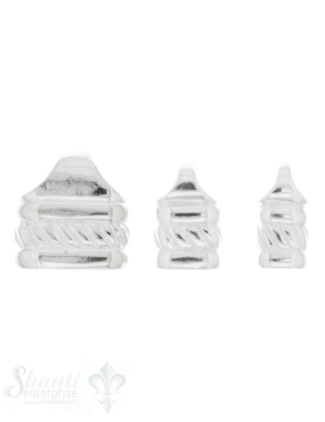 Lederkappe Silber 1/3 gerillt mit integrierter Öse 1 Paar= 2 Stk.