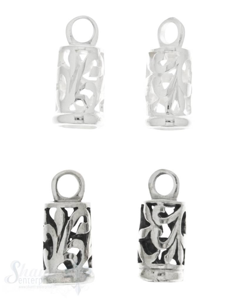 Lederkappe Silber rund verziert fixe Öse 1Pack = 2 Stk.