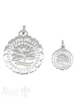 Silberanhänger Amulett mit Lotusblume massiv poliert mit Öse