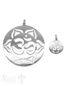 Silberanhänger Amulett Om Zeichen mit 6 blättriger Lotusblume mit Öse