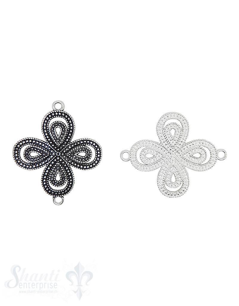 Silberteil mit Doppelösen Blume 4-blättrig 37x30 m m durchbrochen gepunktet