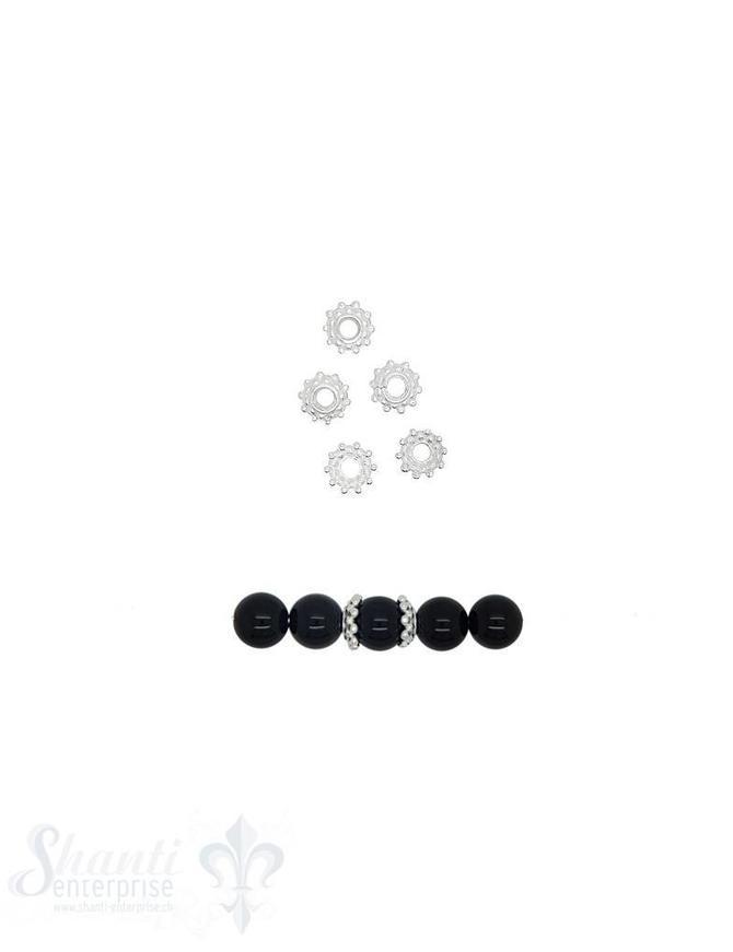 Perlkappe Silber Tupfen versetzt 8 mm Loch ID 2,3 mm 1 Pack = 20  Stk. ca 10 gr. für 8 mm Per