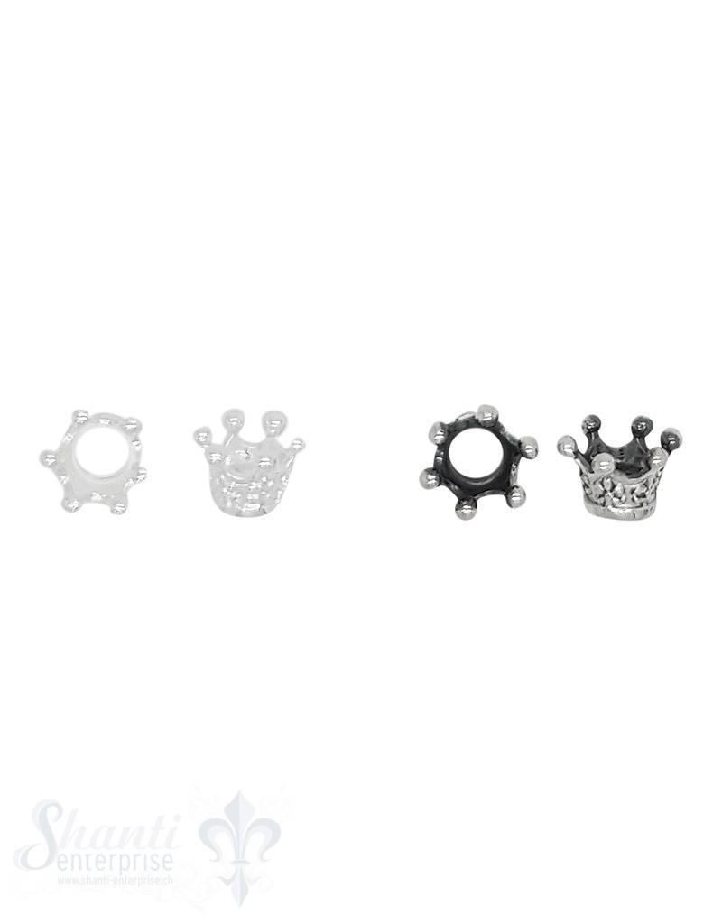 Grosslochperlen Silber Krone 6x6.3 mm ID 4.2 mm 1 Pack = 5 Stk. ca. 3.5 gr.