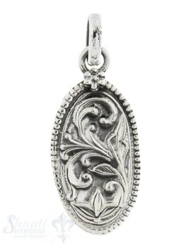 Silberanhänger Amulett oval mit Blumenranke 24x12 mm
