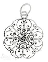 Si-Anhänger: Blumen-Amulett fein durchbrochen mit Öse, 19 mm