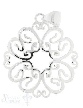 Silberanhänger Blumenornament durchbrochen mit Öse 23 mm