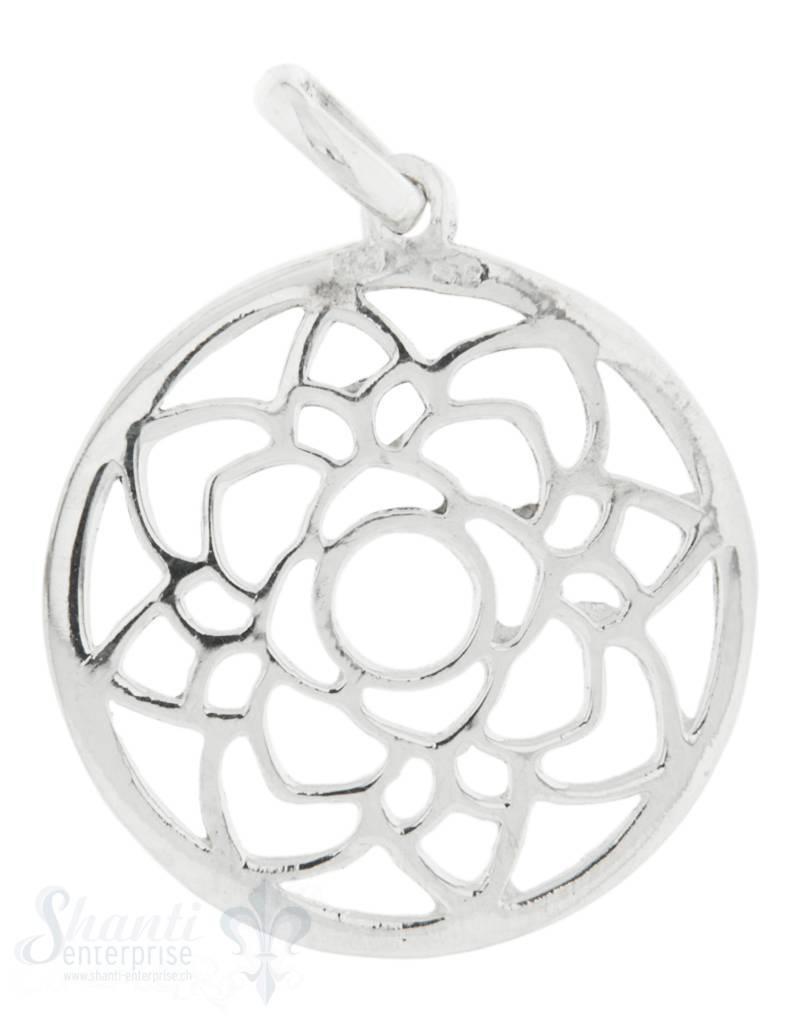 Silberanhänger Amulett Lotusblume im Kreis durch- brochen fein mit Öse 19 mm