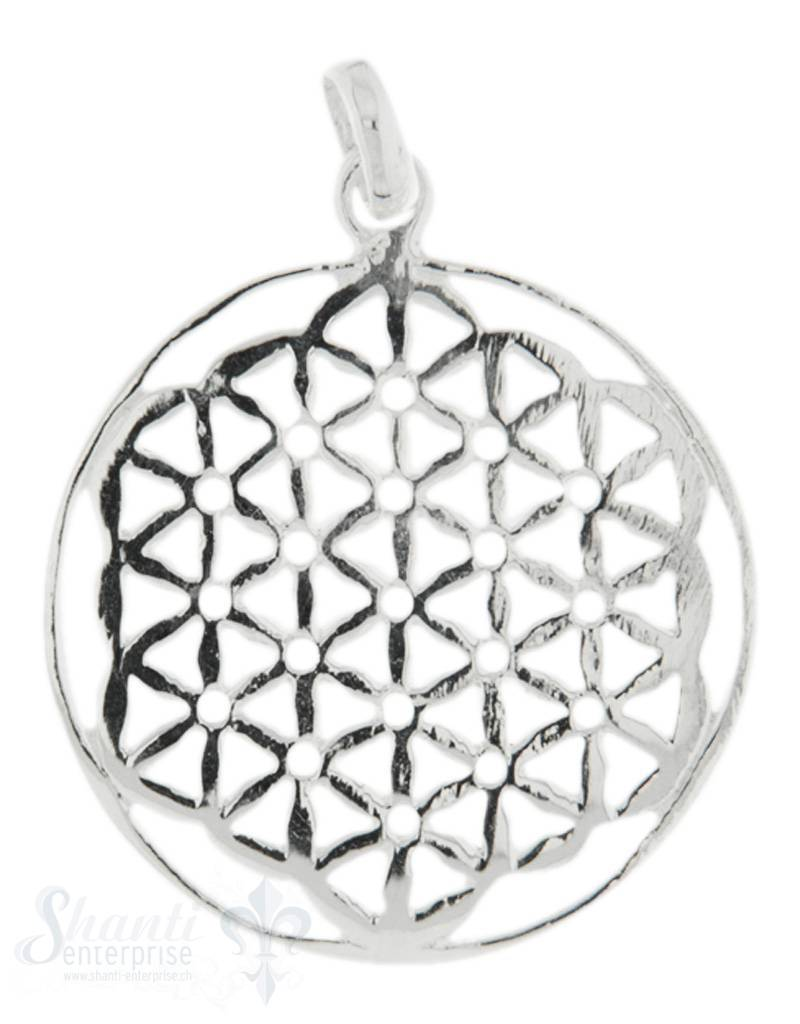 Anhänger Silber Amulett Blume des Lebens mit Öse 36mm flach