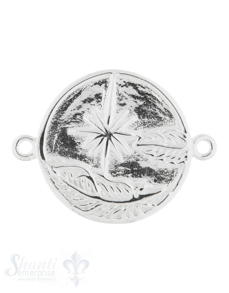 Silberteil mit Doppelösen: Amulette beidseitig mi Feder & Kompass 27x21mm Dicke: 3mm