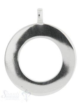 Silberanhänger Kreis Rahmen 5 mm mit fixer Öse 25 mm poliert