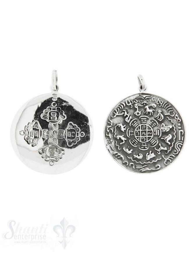 Anhänger Silber Amulett geschwärzt Sternzeichen chinesisch 39mm mit Öse oval Hinten keltisches Kreuz