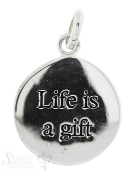 Si-Anhänger: Life is a gift Plaquette mit Text D: 16mm Dicke: 0.85mm