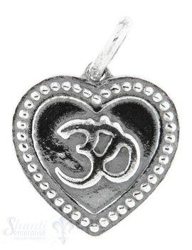 Silberanhänger Symbol om auf Herz geschwärzt 16x15 mm mit Öse lose