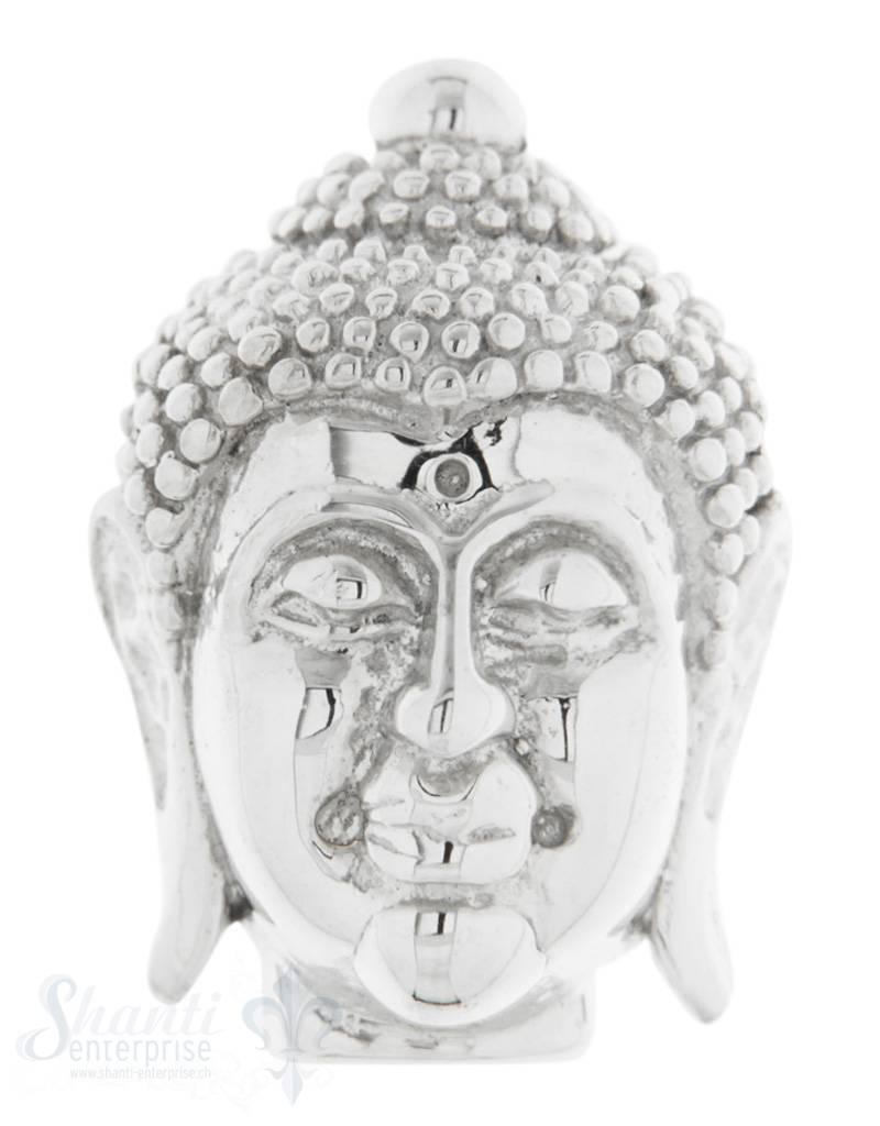 Zwischenteil Silber Buddhakopf hell massiv Loch quer