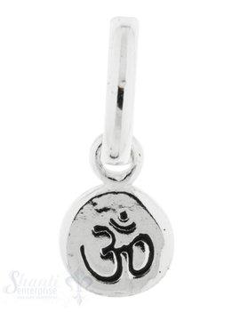 Silberanhänger Charm Tropfen Om-Zeichen poliert poliert Schrift geschwärzt 8x5 mm mit Öse