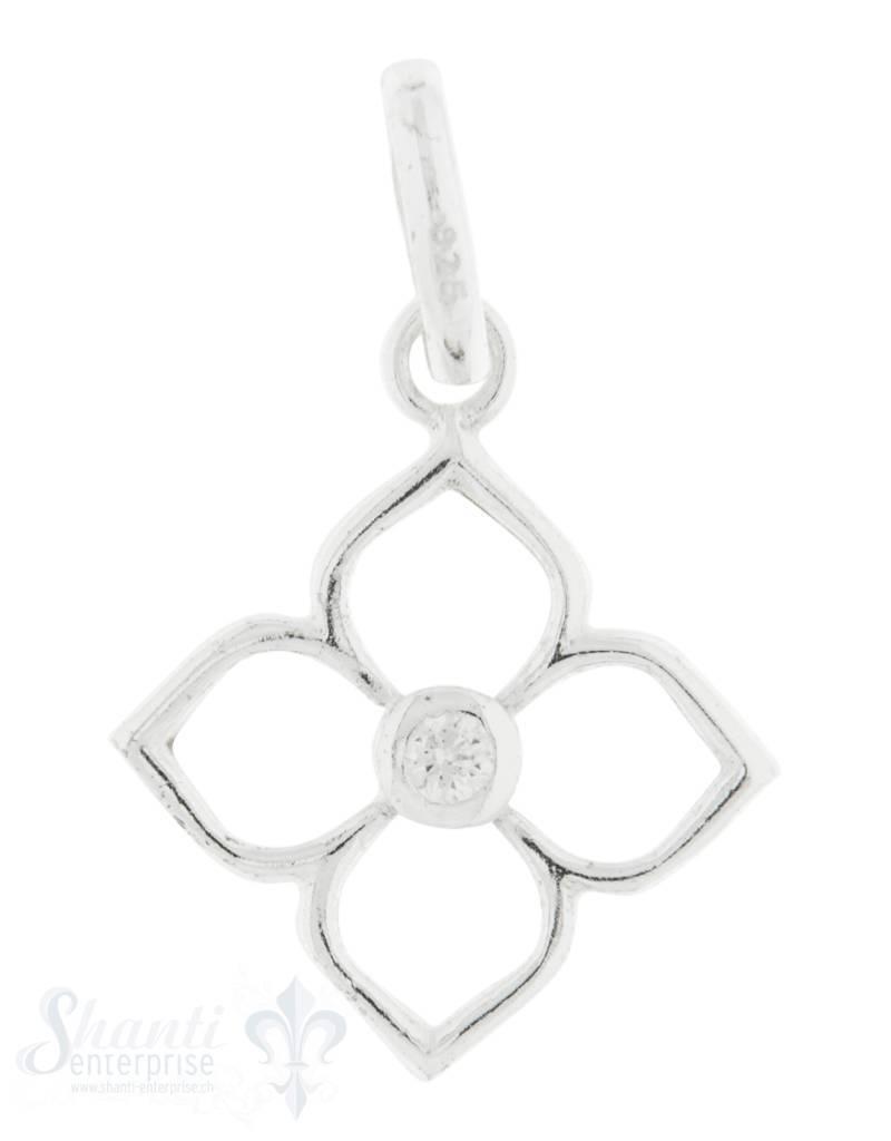 Silberanhänger Blume Rahmen 4 blättrig mit Öse mit Zirkonia in der Mitte 10 mm