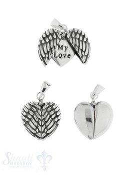 Silberanhänger Herz Rahmen zum Öffnen Front mit Flügelpaar geschwärzt, Innen Herz flach mit my love mi Öse
