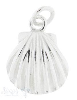 Silbertier Muschel gebaucht Fächer mit Öse 11x12 mm
