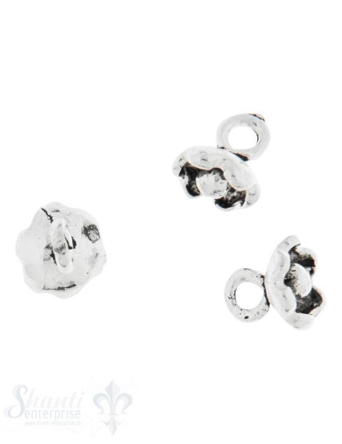 Anhänger Silber Blume hängend 4,5 mm geschwärzt 1 Pack = ca. 5 gr.  ca. 32 Stück