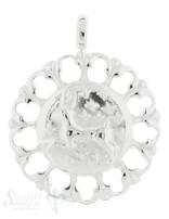 Tier Silber Medaillon mit Hase 36 mm verziert mit fixerÖse