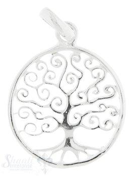 Silberanhänger Baum des Lebens gekringelt 19 mm mi t Öse 27 mm