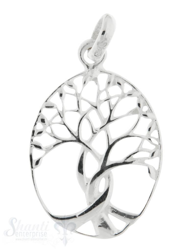 Silberanhänger Baum des Lebens oval durchbrochen mit Ose 29x17 mm