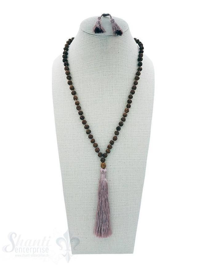 Halskette mit Quaste geknüpft 6 mm Grössen verstellbar 82-103 cm