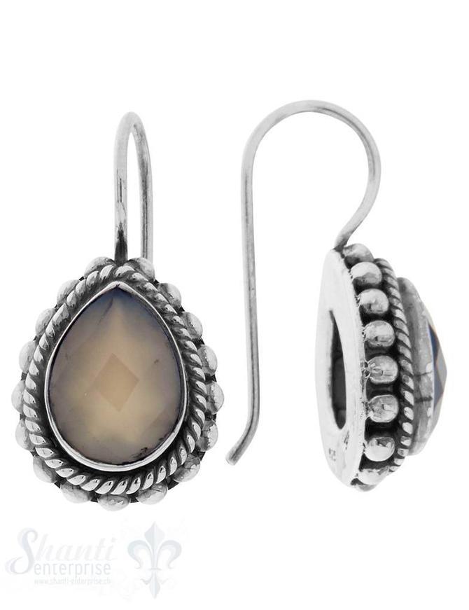Ohrhänger Silber geschwärzt Tropfen mit Punkt-/Schnurverzierung 16x13 mm mit Bügel
