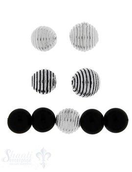 Zwischenteil Silber Kugel mit Ring Muster