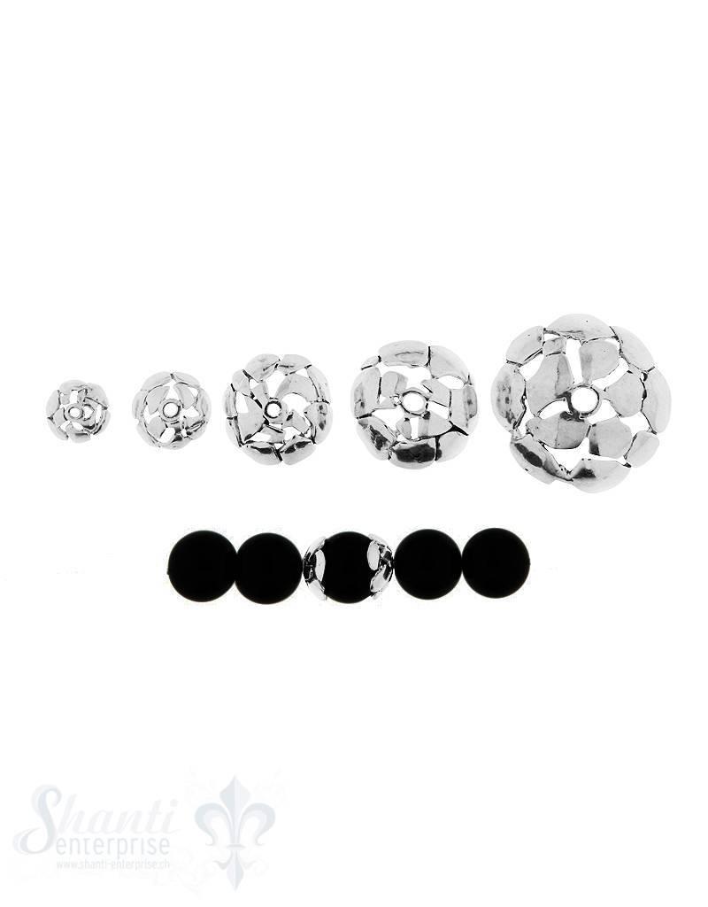 Perlkappe Silber unregelmässig durchbrochen