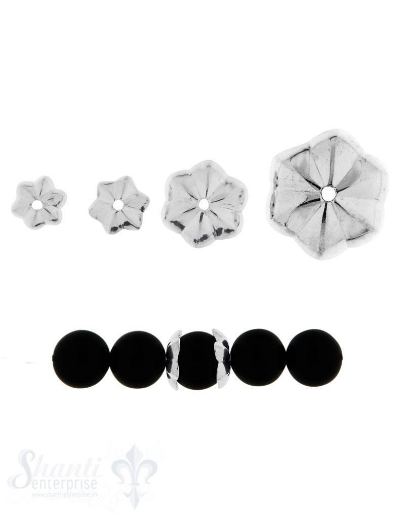 Perlkappe Silber gerillt gekantet