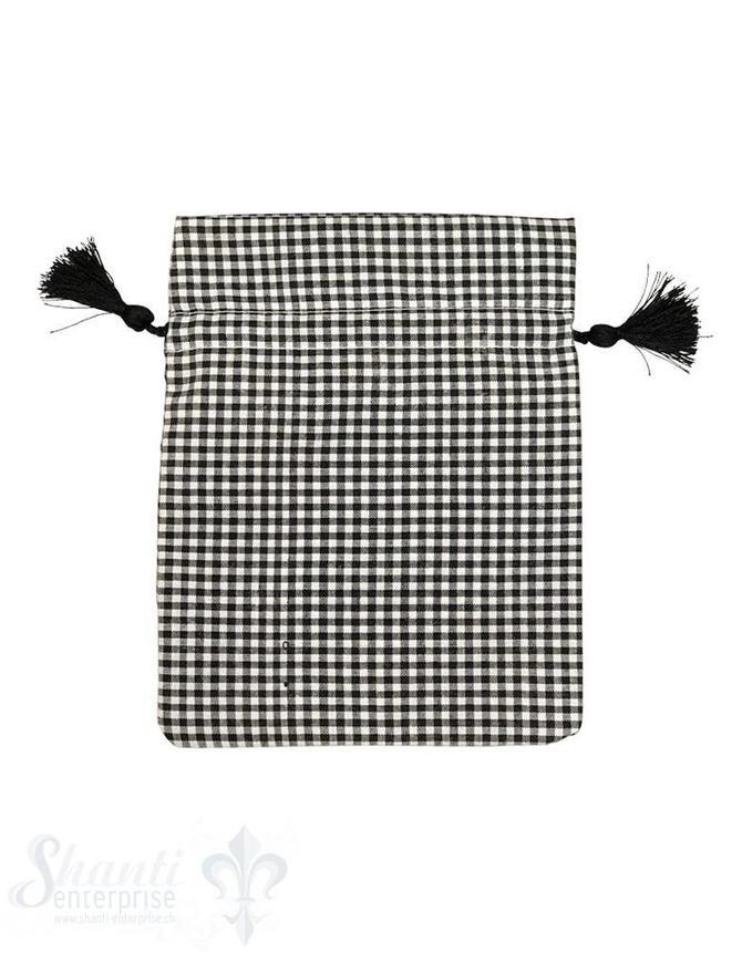 Baumwollsäckli, 25 Stk., kleinkariert, schwarz