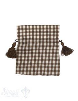 Baumwollsäckli, 25 Stk., grosskariert, braun