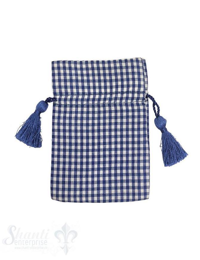 Baumwollsäckli, 25 Stk., kleinkariert, dunkelblau