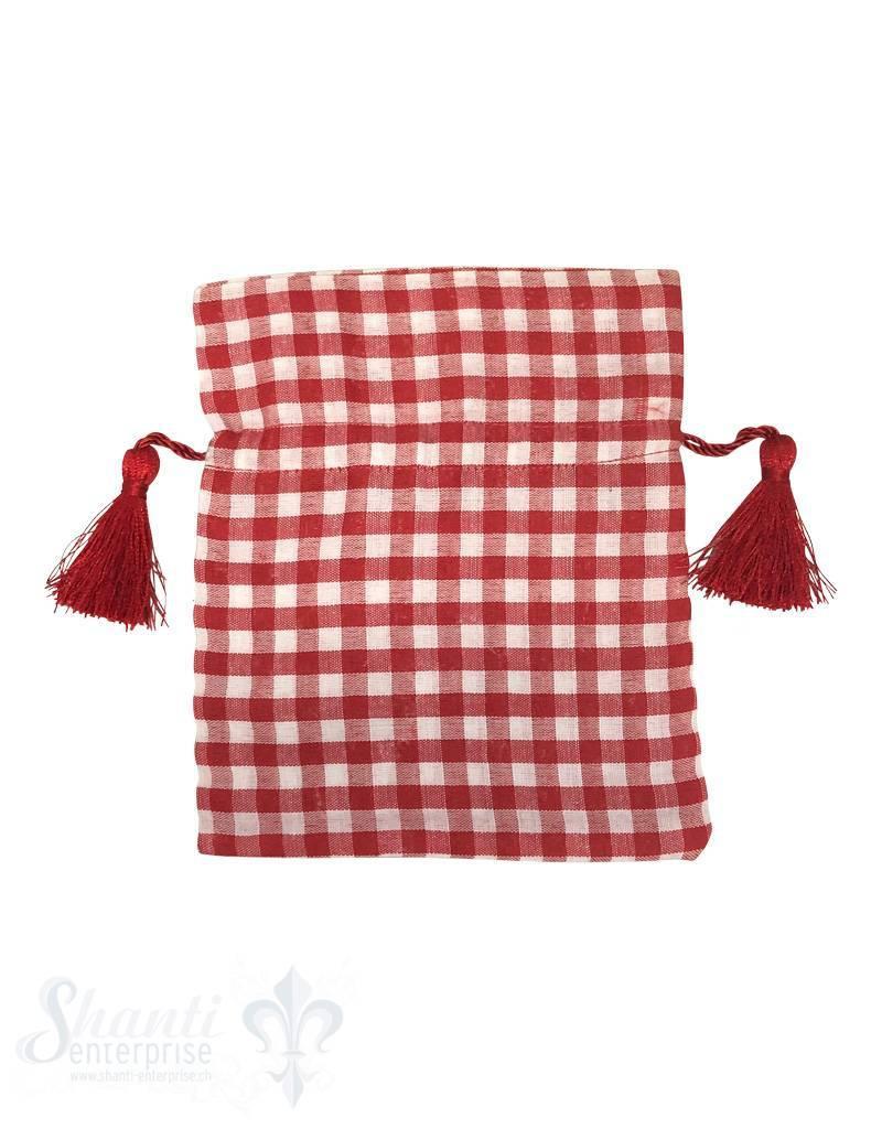 Baumwollsäckli, 25 Stk., grosskariert, rot