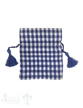 Baumwollsäckli, 25 Stk., grosskariert, dunkelblau
