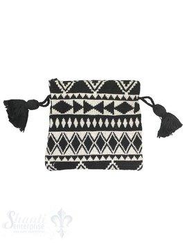 Baumwollsäckli, 25 Stk.Ethnolook, schwarz/beige