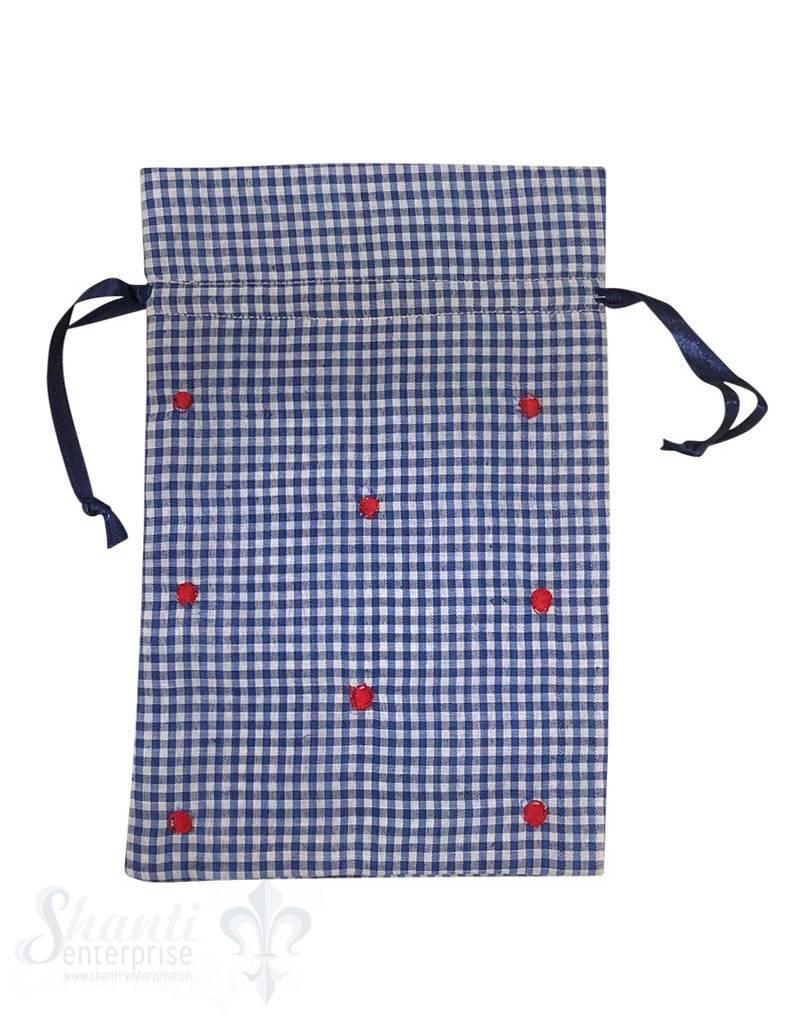 Baumwollsäckli, 10 Stk., kleinkariert, dunkelblau gepunktet
