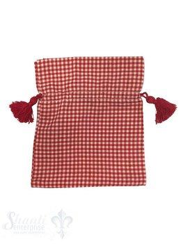 Baumwollsäckli, 25 Stk., kleinkariert, rot