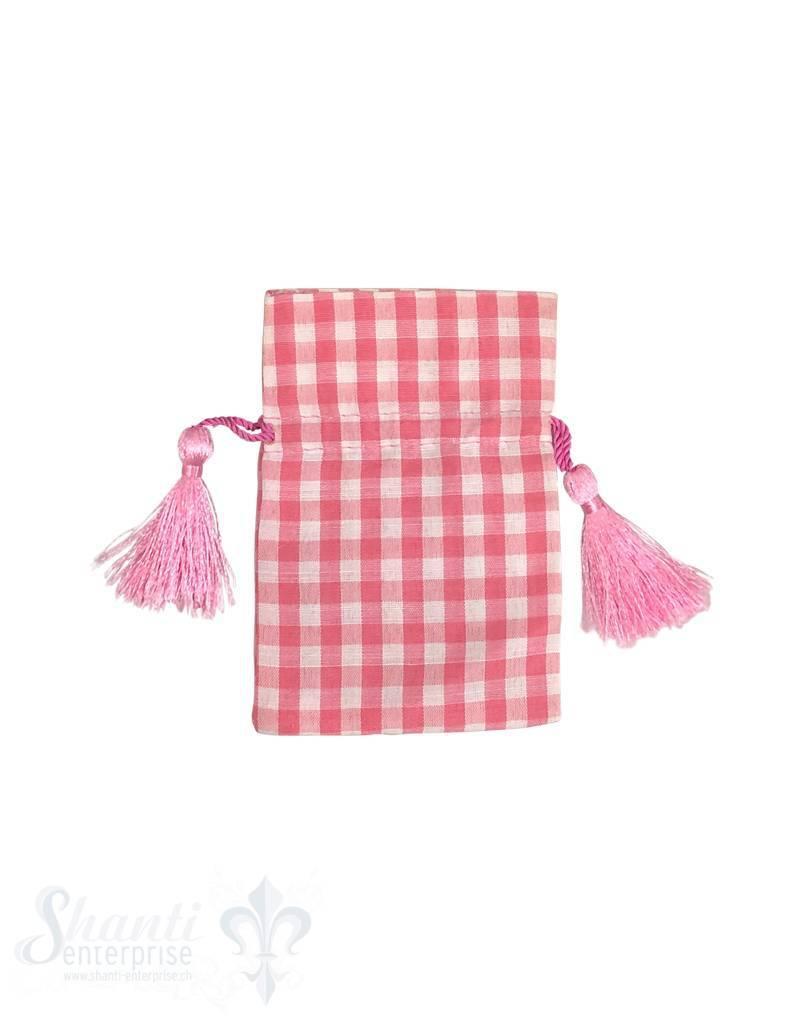Baumwollsäckli, 25 Stk., kleinkariert, rosa