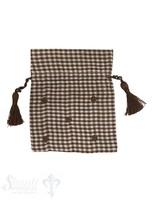 Baumwollsäckli, 25 Stk., kleinkariert, braun gepunktet