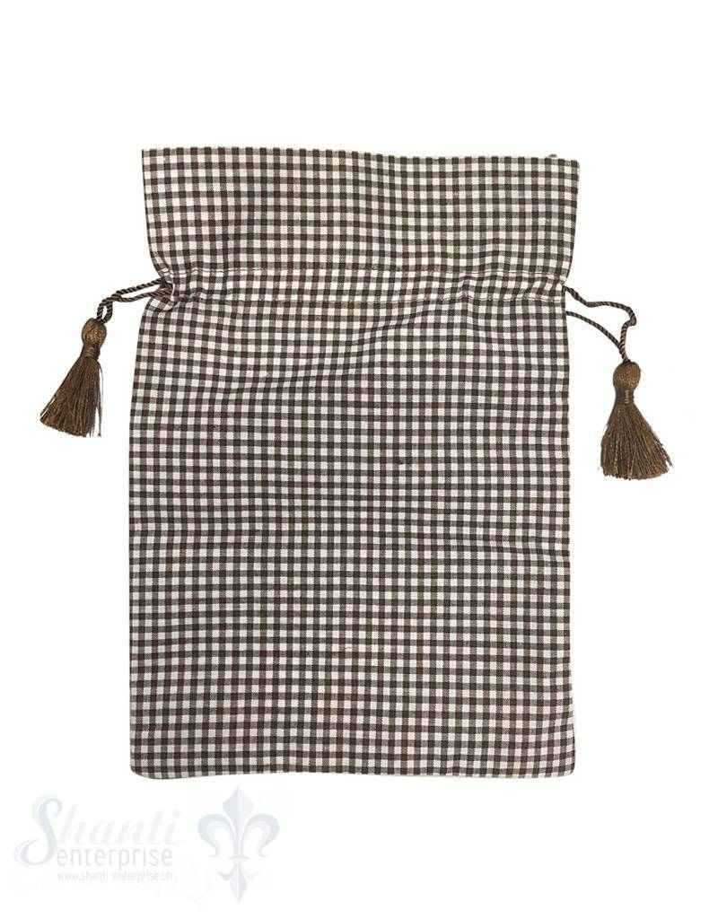 Baumwollsäckli, 25 Stk., kleinkariert, braun