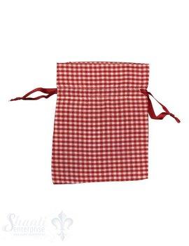 Baumwollsäckli, 25 Stk., kleinkariert, rot schlichtes Zuzugsband,  14 x 12 cm