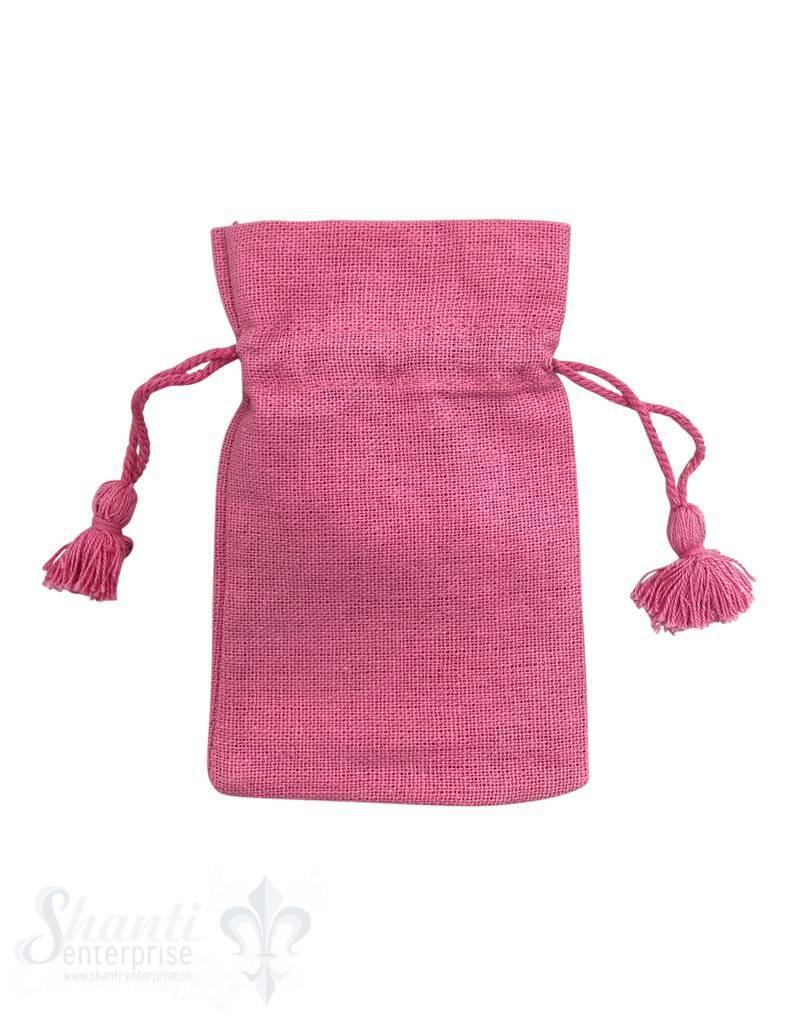 Baumwollsäckli, 25 Stk., pink, grob 12 x 8 cm
