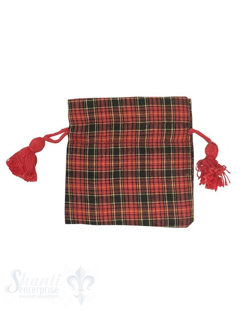 Baumwollsäckli,25 Stk,fein,Karomuster Weihnachten: 8x8 cm