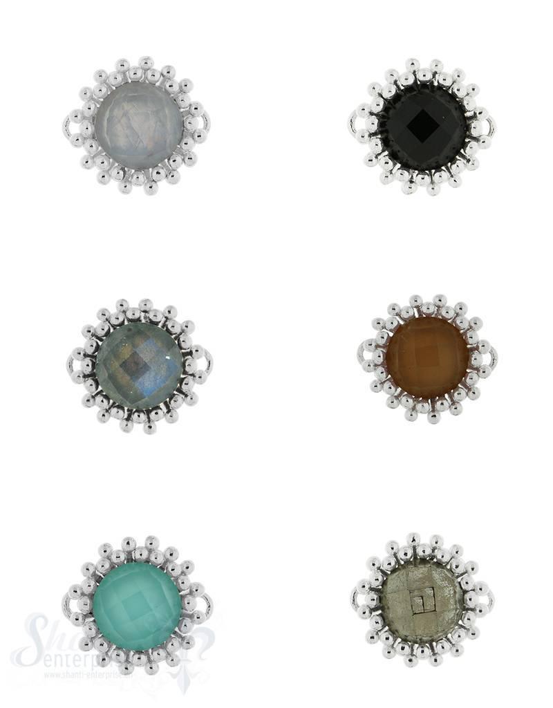 Silberteil mit Doppelösen 16 mm Fassung zweireihig versetzt gepunktet